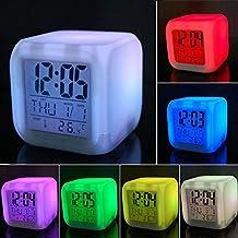 Reloj de mesita de noche reloj despertador digital 7LED cambio de color de cubo Glowing Wake Up Light reloj despertador con el tiempo función de dormir pantalla de temperatura de alarma para niños niñas niños adultos, plástico, Blanco, Small