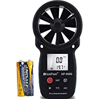 HoldPeak HP-866B Digital Flügelrad Anemometer mit Temperaturmessung, Windmessgerät, Windmesser mit Hintergrundbeleuchtung, Farbe Dunkelgrau Blau