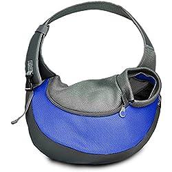 bolsos para perros Malla de tela Nylon ocio solo hombro Pet Bag mochila para perro de mascota al aire libre portátil de hombro de gato y perro Pet Oblique Kua paquete , L , 1