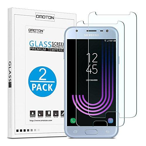 galaxy j3 display [2 Stück] OMOTON Panzerglas Schutzfolie für Samsung Galaxy J3 2017, 9H Härte, Anti-Kratzen, Anti-Öl, Anti-Bläschen,2.5D abgerundete Kanten,lebenslange Garantie