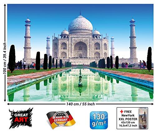 GREAT ART XXL Poster - Taj Mahal - Wanddekoration Sehenswürdigkeiten Must See Deko Marmor Denkmal Grabmal India Garten Wandbild Indien Motiv (140 x 100 cm) - Indien-elemente
