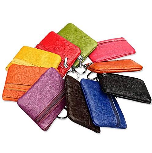 Dairyshop Borsa donna Portafoglio, Borsa sacchetto sacchetto raccoglitore cuoio genuino chiusura lampo holding moneta carta donne degli uomini molli (Rosso) Giallo