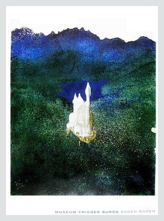 Gerhard Richter Schloss Neuschwanstein Poster Kunstdruck Bild mit Alu Rahmen in Silber Natur 82,4x62,4cm - Kostenloser Versand (Poster Neuschwanstein Schloss)