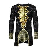 TEELONG Kostüm Herren Freizeit African Dashiki Traditional National Hot Gold Printed Long-Sleeved Shirt Langarmshirts T-Shirts Sweatshirt Playsuit Streetwear Kapuzenpullover(L, Schwarz)
