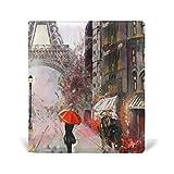 mydaily Eiffelturm Rainy Day Gemälde wiederverwendbar Leder Buch 22,9x 27,9cm für mittlere bis Größe Jumbo Hardcover Schulbücher lehrbüchern.