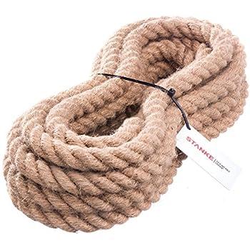 10m 40mm -- JUTESEIL Naturfasern gedreht Tauwerk Hanf Jute Tau Seil Tauziehen Absperrseil Handlauf