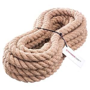 15m 50mm -- JUTESEIL Naturfasern gedreht Tauwerk Hanf Jute Tau Seil Tauziehen Absperrseil Handlauf