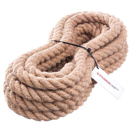 10m 30mm - JUTESEIL Naturfasern gedreht Tauwerk Hanf Jute Tau Seil Tauziehen Absperrseil Handlauf