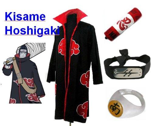 Sunkee Japanische Anime Naruto Cosplay Hoshigaki Kisame Set -- Akatsuki Mantel Umhang Größe M + Federmäppchen + Stirnband+ Hoshigaki Kisame (Akatsuki Kisame Kostüm)