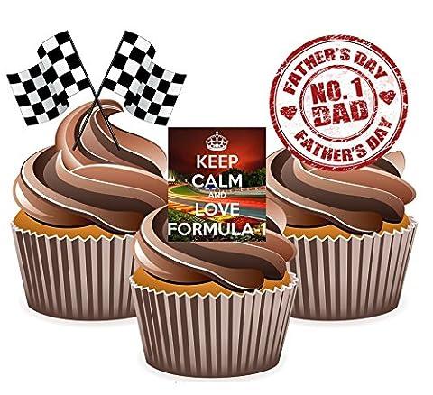 Père de Jour Formule Un Gâteau Décorations–Col Montant Tasse comestible gâteau décorations (Lot de 12)
