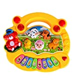 Shanaya Toys Mini Musical Animal Farm Piano Electronic Keyboard Music Development Educational Toy For Kids (Yellow)