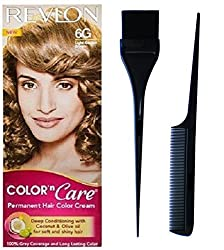 Revlon color n care Light Golden Brown 6G with Dye brush and comb