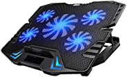 KEROLFFU Laptop Cooling Pad, Gaming 5Fans 15.6inch Laptop Cooler Stand Fan, Adjustable Foldable Long Stand, Fa