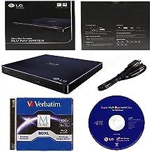 LG 6x WP50NB40 External portátil Slim Blu-ray Burner Bundle con 100GB BDXL y Cyberlink Burning Software - Soporta discos M-DISC y BDXL (Retail Box)