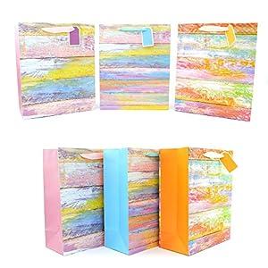 Gifts 4 All Occasions Limited SHATCHI-517 - Lote de 3 bolsas de papel con purpurina para regalo de cumpleaños, boda, Navidad, multicolor