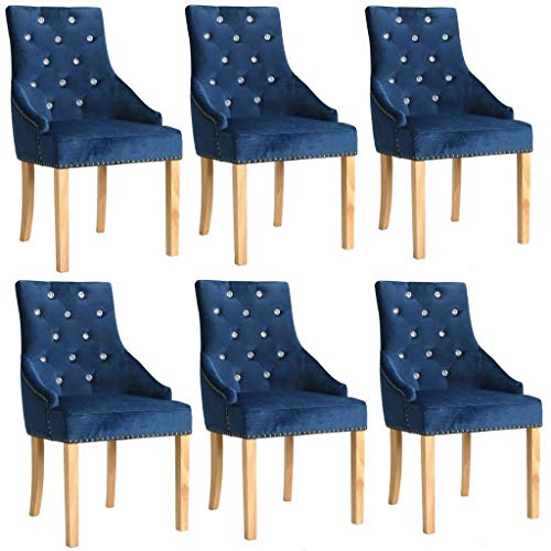 WT Trade 6er-Set Design Esszimmerstuhl SAMT-Bezug Blau | Küchenstuhl Essstuhl Polstersessel | mit Eiche-Holzrahmen | barock Vintage Polsterstuhl | Sessel mit Armlehnen Antik