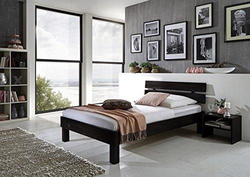 SAM® Massiv-Holzbett Jessica in Buche wenge, Bett mit geteiltem Kopfteil, natürliche Maserung, massive widerstandsfähige Oberfläche in dunklem Braunton, 90 x 200 cm