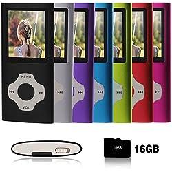Ueleknight Lecteur MP3 MP4 avec Carte Micro SD 16G, Lecteur de Musique Numérique Portable/Vidéo/E-Book/Visualisation d'images, Lecteur de Musique économique avec écran de 1,8 Pouces -Noir