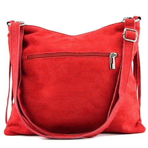 Borsa a mano borsa a tracolla shopping bag donna in vera pelle italiana T02 T145 Erdbeerrot