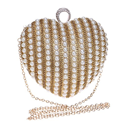 WAVENI Damen Umhängetasche Perle Herzform Abendtasche Braut Bankett Kleid Clutch Geldbörse Handtasche (Color : Gold)