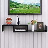 Wandregal Schwimmregal Wand-TV-Schrank Set Top Box Router Projektor Spielausrüstung Lagerregal TV-Ständer (Farbe : SCHWARZ)