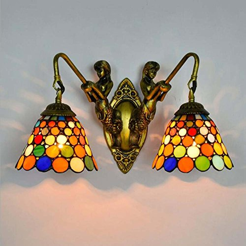 Bronze Wandleuchte, Tiffany-Stil Glasmalerei Wandleuchte, Europäische kreative Meerjungfrau Wohnzimmer Schlafzimmer Bar Restaurant dekorative Wandleuchte E27 (ohne Lichtquelle) YDYG (Farbe : B) -