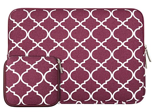 MOSISO Tasche Sleeve Hülle Kompatibel 13-13,3 Zoll MacBook Pro, MacBook Air, Notebook Computer Canvas Geometrisches Muster Laptophülle Laptoptasche mit Klein Fall, Weinrot Vierpass (Fleece-stoff Quatrefoil)