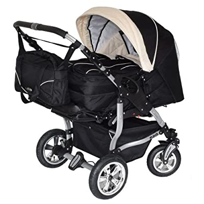 Adbor Duo 3in1 Zwillingskinderwagen mit Babyschalen - silbernes Gestell, Zwillingswagen, Zwillingsbuggy Farbe Nr. 29s schwarz/beige
