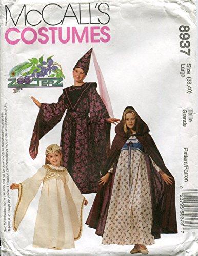 Bauern Muster Kostüm - McCall 's Kostüme 8937~ Schnittmuster 'Mittelalter Kostüme, Größe Large (Brustumfang 38-40)