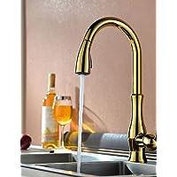 MEICHEN-FaucetTraditional Ti-PVD terminare un foro singolo deck maniglia montata girevole Spray estraibile rubinetto di cucina