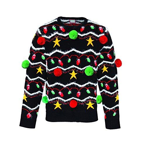 Christmas Shop Unisex Pullover mit 3D-Weihnachtsschmuck Schwarz/Bunt
