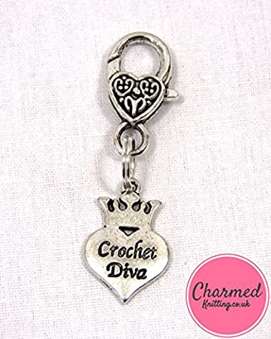 Crochet Diva - Crochet Stitch Marker - Silver, large - perfect gift or stocking filler for those who love Crochet by Charmed Knitting