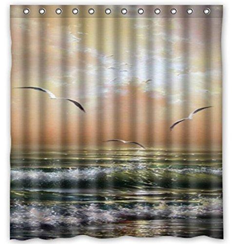 CHATAE Wasserdicht Funny & Amazing Landschaft Ocean Wissenschaft Thema Duschvorhang DIY Bild Vorhang für die Dusche Badewanne Vorhang für Home Decor (Sea Gull, 60x 72) von yiko Home - Wissenschaft Duschvorhänge