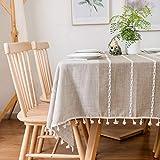 Furnily Rechteck Dekoration Tischdecke 140 cm x 200cm Baumwolle Leinen elegante Tischdecke mit Quaste Edge Staubdichte waschbare Küchentischabdeckung für Speisetisch (Leinen) - 5