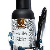 50ml Huile de Ricin Bio, Pressée à froid, Pure - Soin 100% Naturel pour stimuler et fortifier la pousse des cheveux, barbe, cils, sourcils, ongles et peau - Bouteille en verre accompagnée d'un pinceau et d'une brosse à cils/sourcils - Fabriquée en France