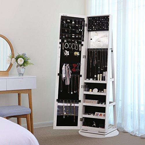 Songmics Schmuckschrank mit 160 cm hohem Spiegel abschließbar um 360° drehbar mit Leiterregal JBC62W - 2