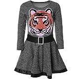 BEZLIT Mädchen Wende-Pailletten Kleid Peticoatkleid Festkleid 21527, Farbe:Anthrazit, Größe:104