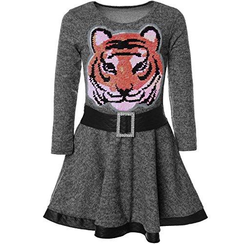 BEZLIT Mädchen Wende-Pailletten Kleid Peticoat Fest Kleider 21527 Anthrazit Größe 116