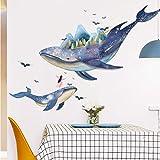 CFLEGEND Charming Romantic Blue Big Fish Wandaufkleber Für Kinderzimmer Wanddekoration Wohnzimmer Schlafzimmer Sofa Wandtattoo 125X73 cm