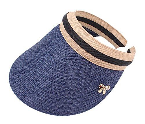 Damen Visoren Sommer Long Brim Empty Top Strohhut Sonnenblende Sport Strand Hut (Blau)