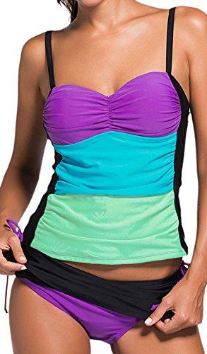 Frieda Fashion - Damen Bauchweg Ombre Tankini, Beach-Bikini Hose zum Rock wandelbar, XS-2XL, Viele Farben Violett