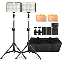 "Photography 160 LED Studio Lighting Kit for Canon Nikon Sony, 160 Dimmable Ultra High Power Panel Digital Camera / Camcorder Video Light with 79"" Tall Stand and Charger,Carry Case"