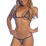 Aidonger Sexy Frauen Gaze Leopard Bikini-Sets Unterwäsche mit Flip-Flops Hot Verführung Damen Bandage Dessous Reizwäsche (M)