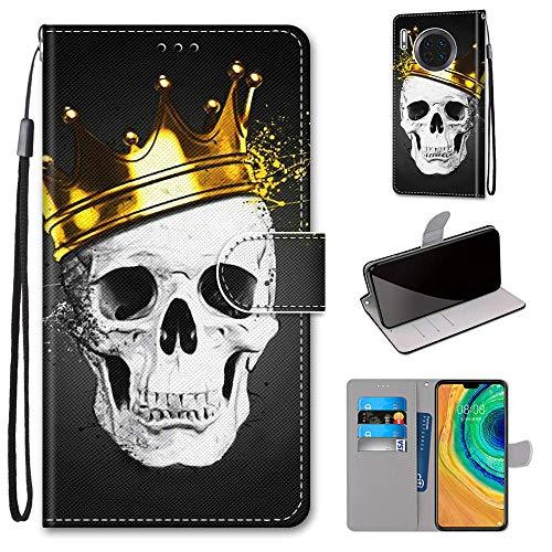 Miagon Flip PU Leder Schutzhülle für Huawei Mate 30 Pro,Bunt Muster Hülle Brieftasche Case Cover Ständer mit Kartenfächer Trageschlaufe,Schädel Krone