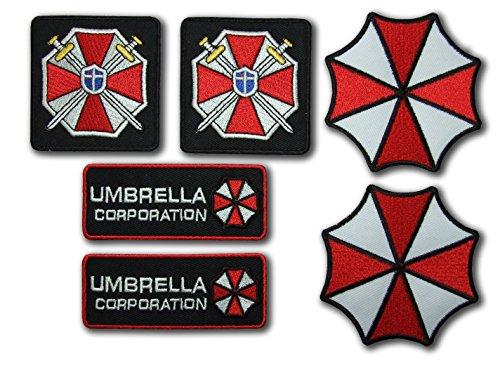 Resident Evil Umbrella Corporation Costume Cosplay Fancy Kleid Eisen auf Patch – Set of 6 Stickerei-Abzeichen