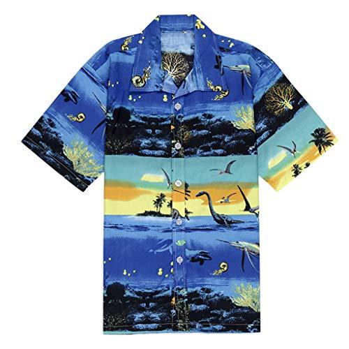 DOFENG Herren T Shirt, Herren Sommer T Shirt Kurzarm Shirts Casual Hawaii Drucken Taste Lose Strand Tops Männer Tanks Weste Hemden Basic Umlegekragen -