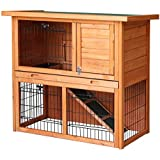 BTM 2-Tier Double Decker Rabbit/ Guinea Pig Hutch House Cage Rabbit huntchs with Sliding Tray