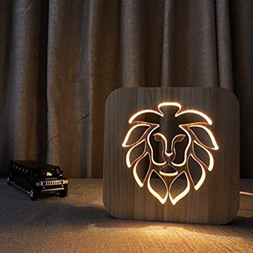 Sicherheit Löwe-Kopf-Massivholz-Tischlampe des Nachtlicht-3D, kreatives hohles geschnitztes Geschenk-Licht Kind -