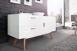 dunord design sideboard kommode stockholm 120cm weiss eiche retro design regal anrichte amazon. Black Bedroom Furniture Sets. Home Design Ideas