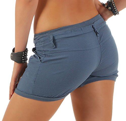 malito Damen Shorts in Unifarben | lässige kurze Hose | Bermuda für den Strand | Pants �?Hotpants 6089 Blau